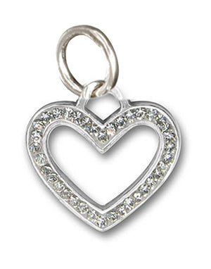 Sterling Silver Clear White Pave Crystal Open Heart Pendant