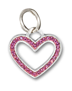 Sterling Silver Pink Pave Crystal Open Heart Pendant