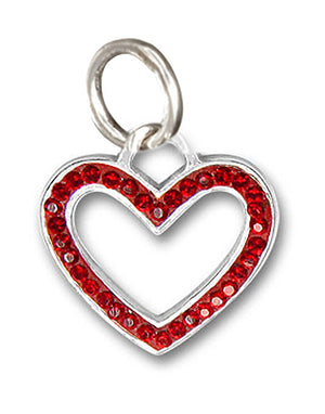 Sterling Silver Cherry Red Pave Crystal Open Heart Pendant