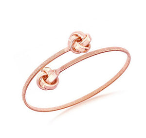 Sterling Silver with Rose Gold Tone Finish Double Love Knot Wrap Bangle Bracelet