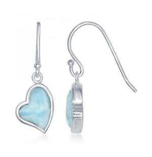 Sterling Silver Larimar Lopsided Heart Earrings