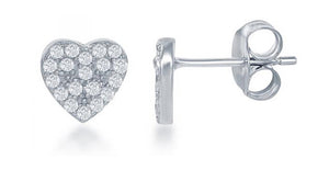 Sterling Silver Mini Pave Cubic Zirconia Heart Post Earrings