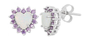 Sterling Silver Synthetic White Opal Heart Post Earrings with Purple Cubic Zirconia Frame