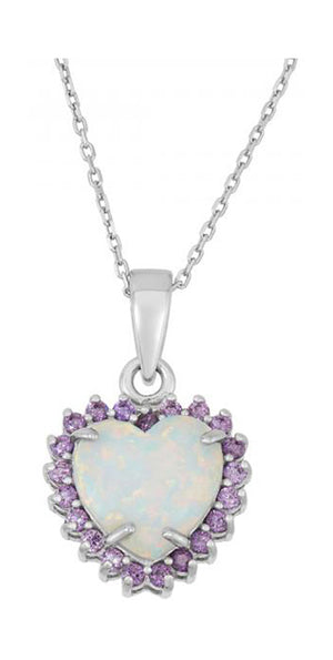 Sterling Silver Synthetic White Opal Heart Pendant with Purple Cubic Zirconia Frame