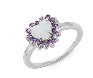 Sterling Silver Synthetic White Opal Heart Ring with Purple Cubic Zirconia Frame