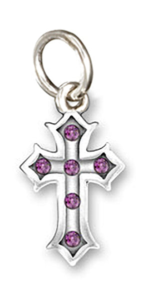 Sterling Silver Inset Cross Pendant with Purple Swarovski Crystals