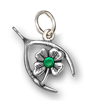 Sterling Silver Good Luck Wishbone & Four Leaf Clover Charm Green Swarovski Crystal