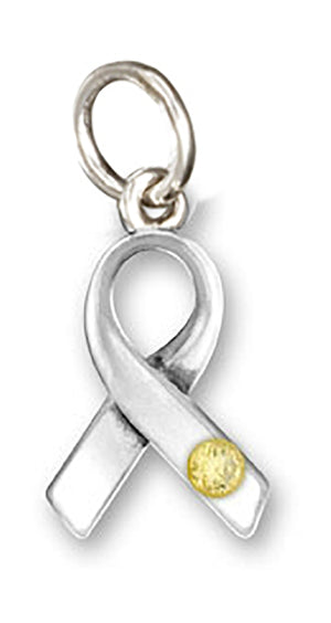 Sterling Silver Awareness Ribbon Pendant with Yellow Swarovski Crystal