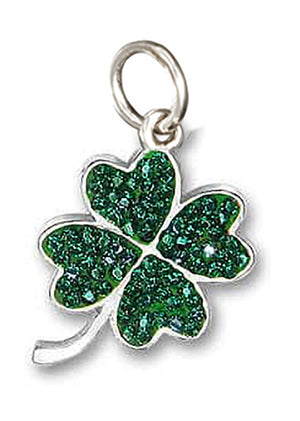 Sterling Silver Emerald Green Color Pave Crystals Four Leaf Clover Pendant