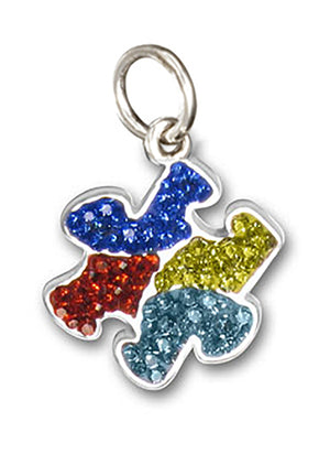 Sterling Silver Multi-color Pave Crystals Autism Awareness Puzzle Piece Pendant