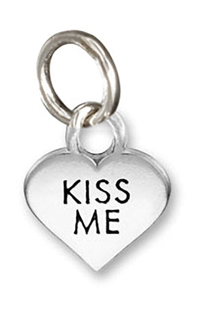"Sterling Silver Small ""Kiss Me"" Heart Charm Pendant"