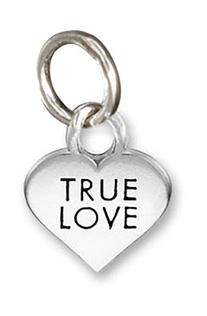"Sterling Silver Small ""True Love"" Heart Charm Pendant"