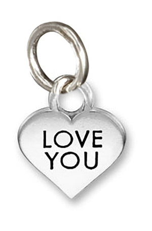 "Sterling Silver Small ""Love You"" Heart Charm Pendant"