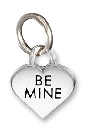 "Sterling Silver Small ""Be Mine"" Heart Charm Pendant"