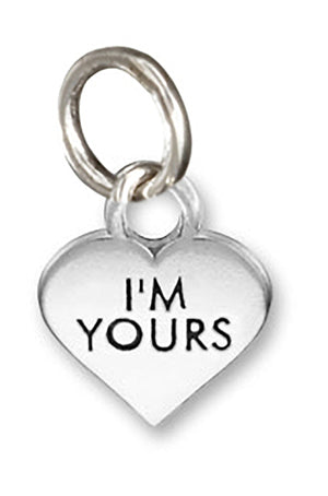 "Sterling Silver Small ""I'm Yours"" Heart Charm Pendant"