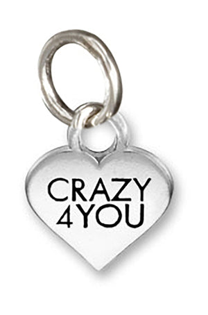 "Sterling Silver Small ""Crazy 4 You"" Heart Charm Pendant"
