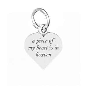 "Sterling Silver ""A Piece Of My Heart Is in Heaven"" Memorial Charm Pendant"