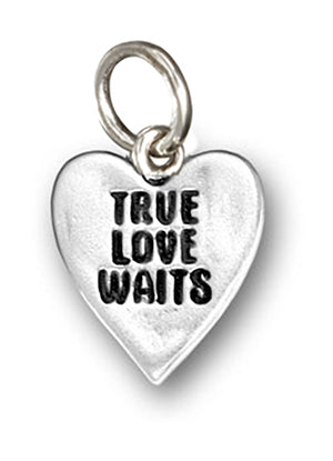 "Sterling Silver ""True Love Waits"" Heart Charm Pendant"