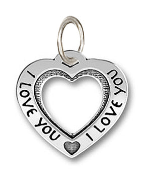 "Sterling Silver Large ""I Love You"" Open Heart Pendant"