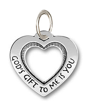 "Sterling Silver Large ""God's Gift To Me Is You"" Open Heart Pendant"