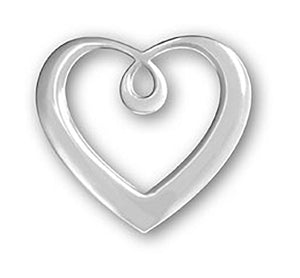 Sterling Silver Large Floating Scrolled Heart Pendant Engravable