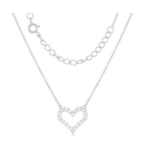 Sterling Silver 16 inch to 18 inch Adjustable Pave Cubic Zirconia Open Heart Necklace
