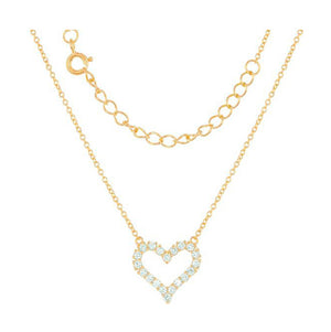 Sterling Silver Gold Tone Finish 16 inch to 18 inch Adj Cubic Zirconia Open Heart Necklace