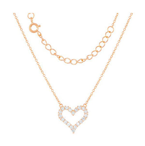 Sterling Silver Rose Gold Tone Finish 16 inch to 18 inch Adjustable Cubic Zirconia Open Heart Necklace