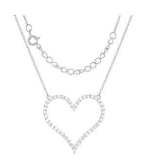 Sterling Silver 16 inch to 18 inch Adjustable Large Pave Cubic Zirconia Open Heart Necklace