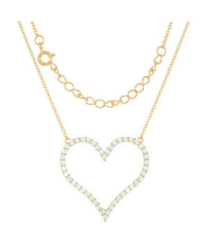 Sterling Silver Gold Tone Finish 16 inch to 18 inch Adj Large Pave Cubic Zirconia Open Heart Necklace