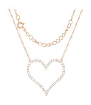 Sterling Silver Rose Gold Tone Finish 16 inch to 18 inch Adj Large Pave Cubic Zirconia Open Heart Necklace