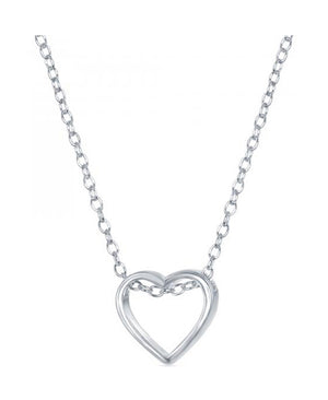 Sterling Silver 16 inch to 18 inch Adjustable Small Simple Open Heart Necklace
