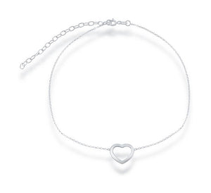 Sterling Silver 12 inch to 15 inch Adjustable Simple Open Heart Choker Necklace