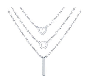 Sterling Silver 16 inch Graduated Triple Strand Necklace with Heart Circle and Bar