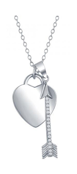 Sterling Silver 16 inch to 18 inch Adjustable Necklace with Heart and Pave Cubic Zirconia Arrow