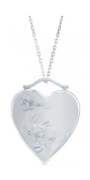 Sterling Silver Floral Etched Heart Locket Pendant