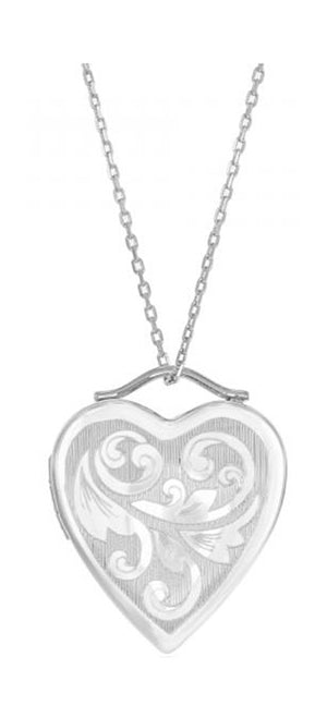 Sterling Silver Leaf Flourish Etched Heart Locket Pendant