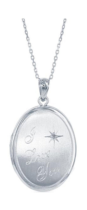 "Sterling Silver Oval Locket Pendant with ""I Love You"" and Diamond Chip"