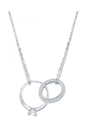Sterling Silver 16 inch to 18 inch Adjustable Engagement Ring & Wedding Band Necklace