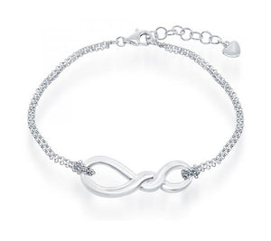 Sterling Silver 7 inch to 8 inch Adjustable Double Strand Infinity Knot Bracelet