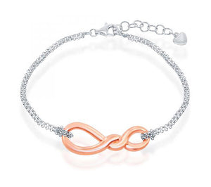 Sterling Silver 7 inch to 8 inch Adj Rose Gold Tone Double Strand Infinity Knot Bracelet