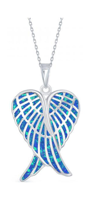 Sterling Silver Crossed Angel Wings Pendant with Synthetic Blue Opal Inlay