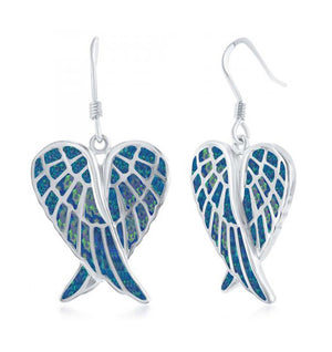 Sterling Silver Crossed Angel Wings Earrings with Synthetic Blue Opal Inlay