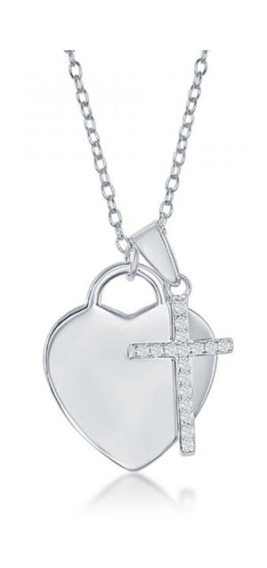 Sterling Silver 16 inch to 18 inch Adjustable Engravable Heart with Cubic Zirconia Cross Necklace