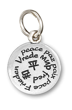 Sterling Silver Spiral Peace in Many Languages Charm Pendant