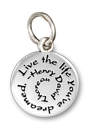 "Sterling Silver Spiral ""Live the Life You've Dreamed"" Charm Pendant"