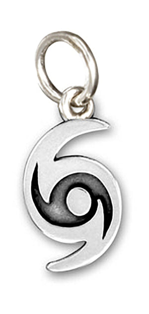 Sterling Silver Hurricane Storm Symbol Charm Pendant