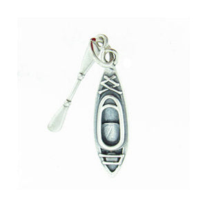 Sterling Silver Kayak and Paddle Charm Pendant Set