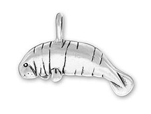 Sterling Silver Large Manatee Charm Pendant