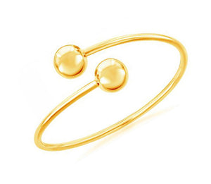 Sterling Silver Gold Tone Double Ball Bangle Bracelet